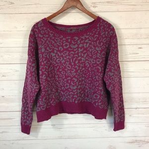 Free People Long Sleeve Cropped Boxy Fit Sweater